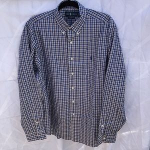 Ralph Lauren blue/white plaid dress shirt.…